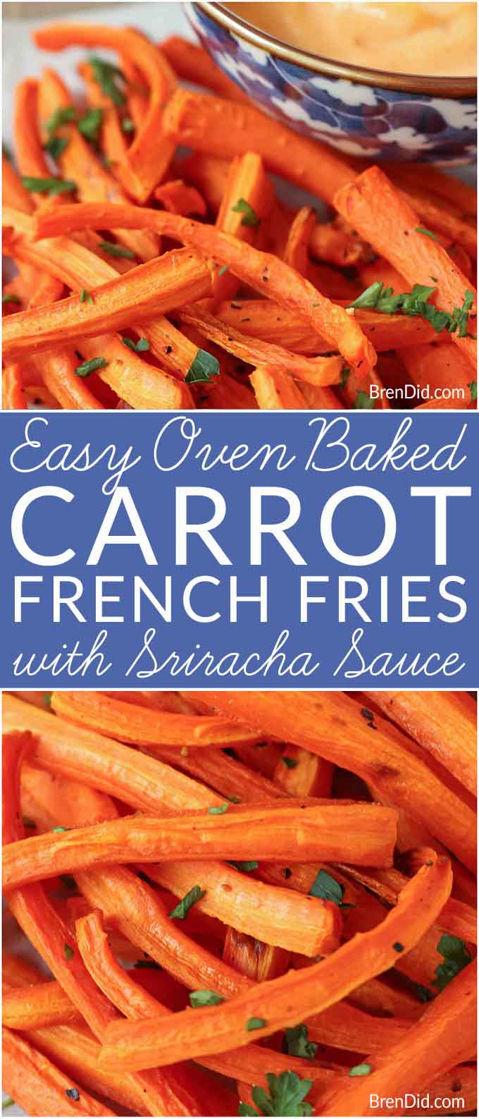 Oven Baked Carrot Fries with Easy Sriracha Dipping Sauce - Satisfy your french fry cravings with healthy oven baked carrot fries.  These vitamin-packed fries are tasty and healthy! Sriracha aioli. Sriracha mayonnaise. #frenchfries #carrots #aioli #healthysnack #healthyside #healthyrecipe #sweetpotatofries #carrot #carrotfries #srirachaaioli #srirachamayonnaise #sriracha