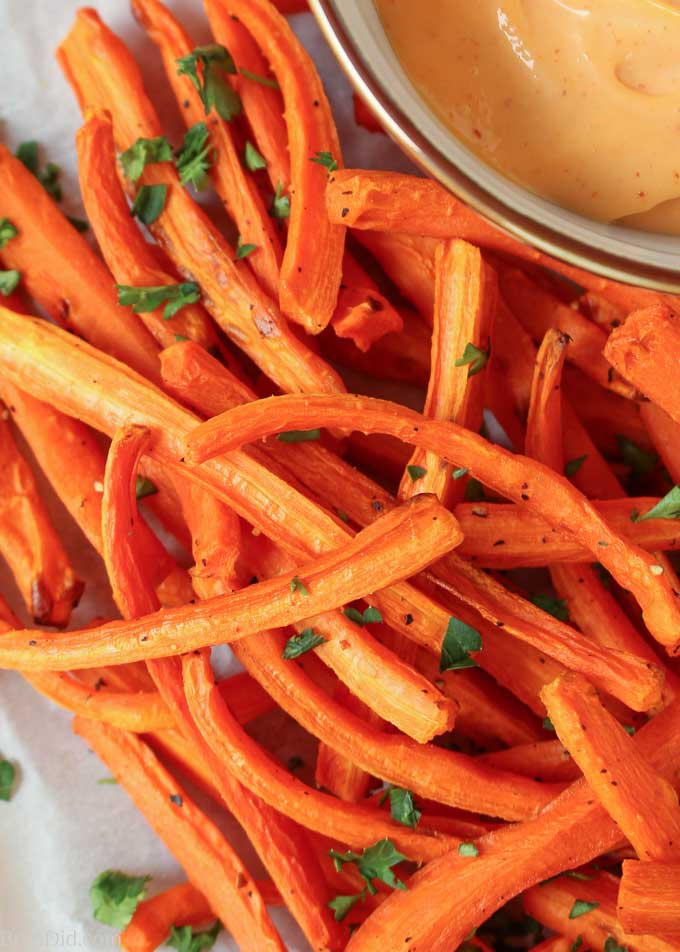 Overhead picture of Oven Baked Carrot Fries with Dipping Sauce