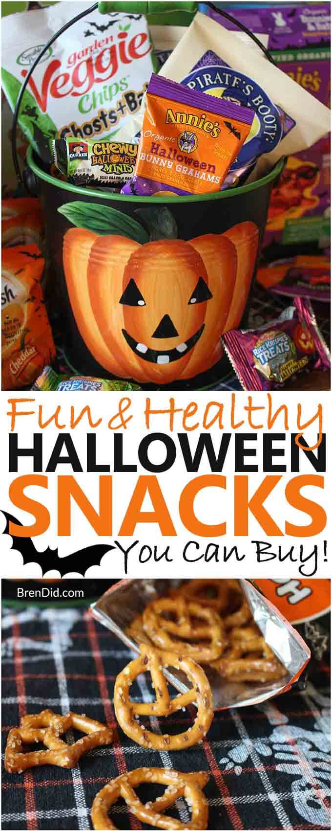 Need a packaged treat for a Halloween? Check out these healthy snacks to buy for your Halloween class party. Your kids will love the fun halloween treats for school … and you'll feel good about serving better-for-you options. #halloweentreats #healthyhalloweentreats #healthysnacksforkids #halloween #halloweensnacks #Brendid
