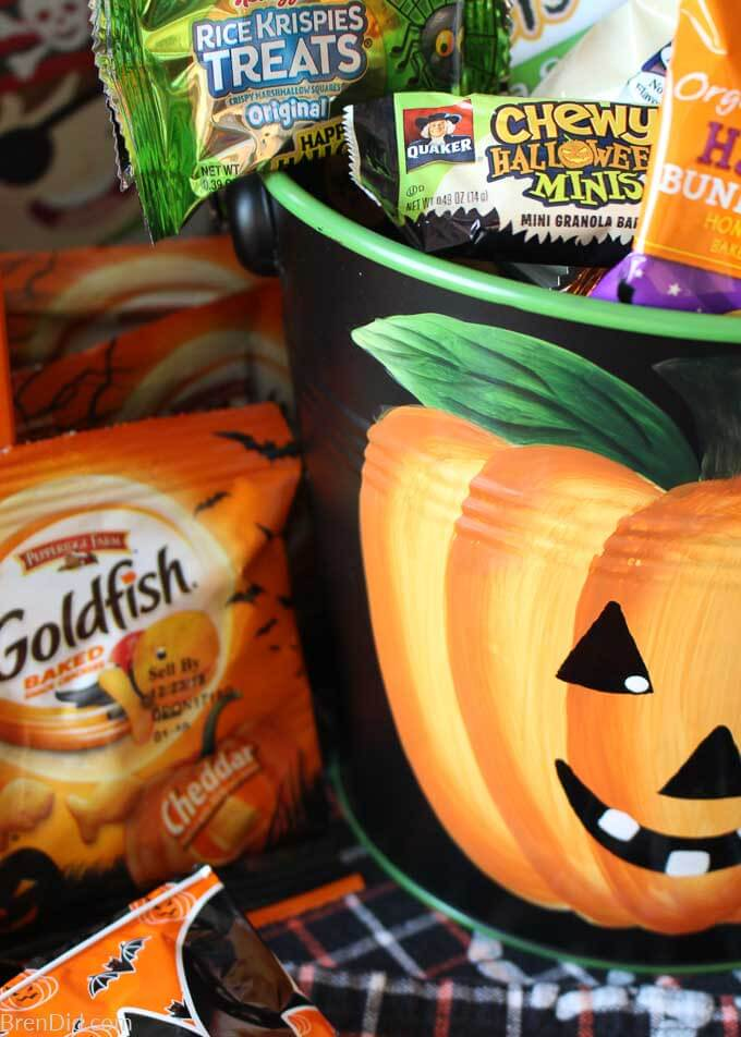 close up of healthy snacks to buy in Halloween pumpkin pail