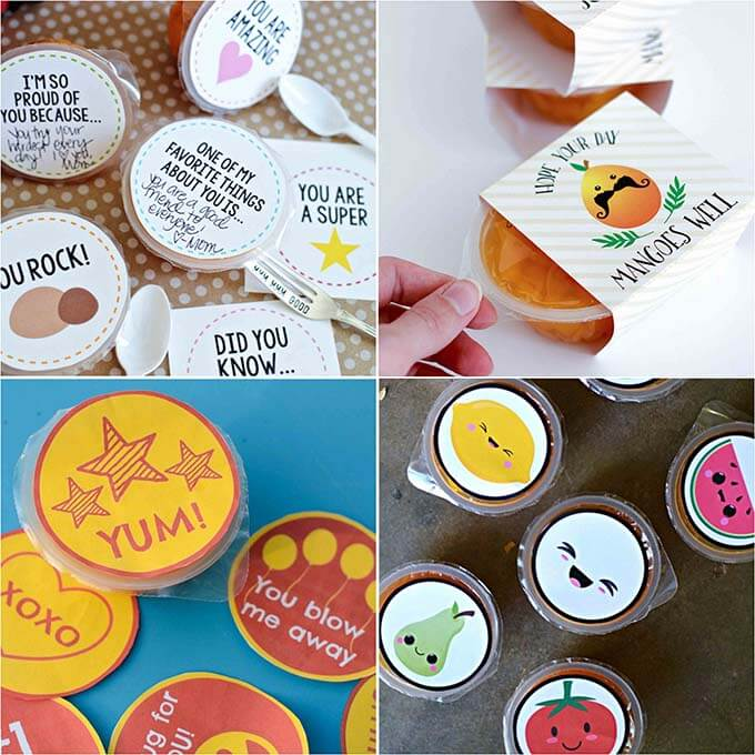 fruit cups decorated with kid designs