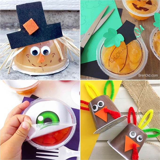 fruit cups decorated with fall designs