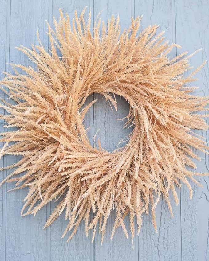 fall wreath made from corn tassels