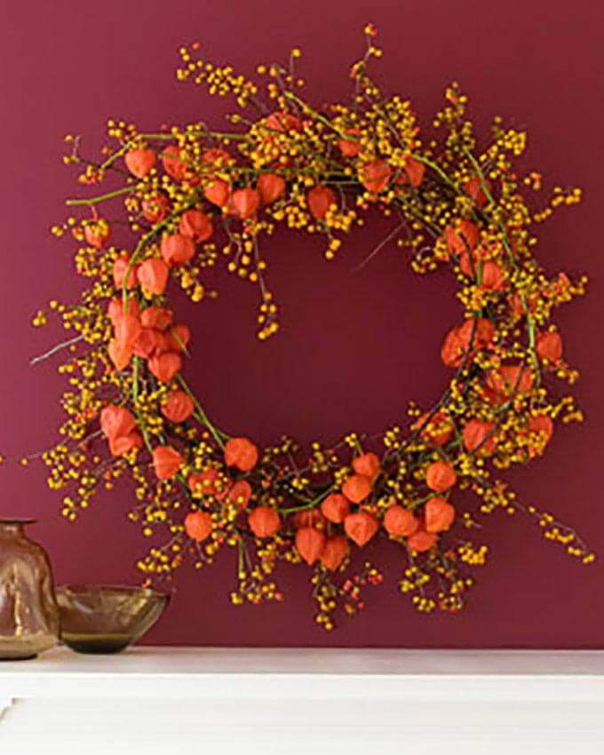 Fall Wreath made with Chinese Lantern Plant and bittersweet