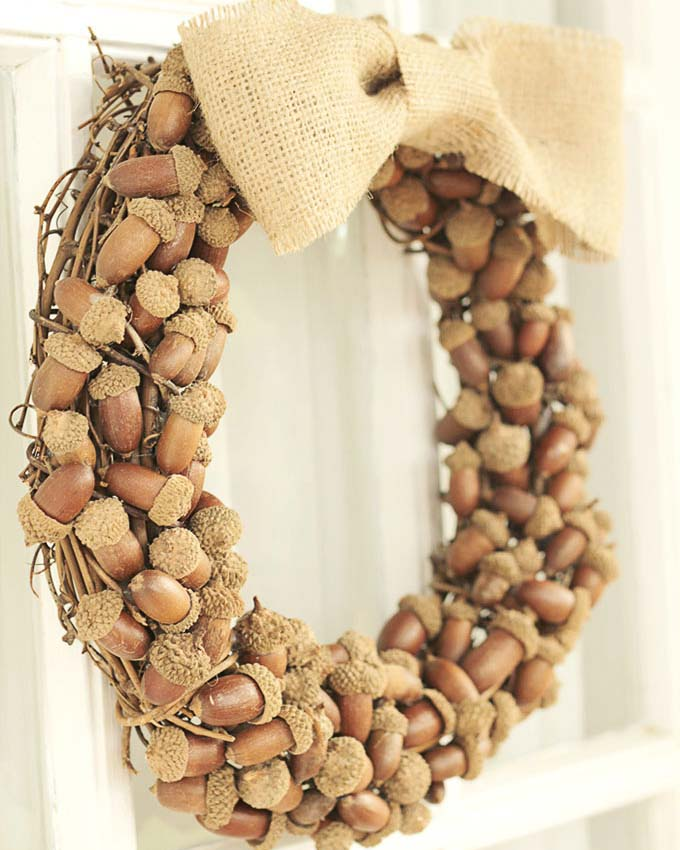 fall wreath made from acorns