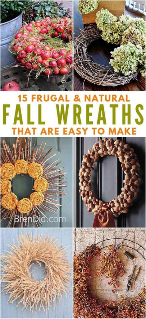 Collage of Natural Fall Wreaths