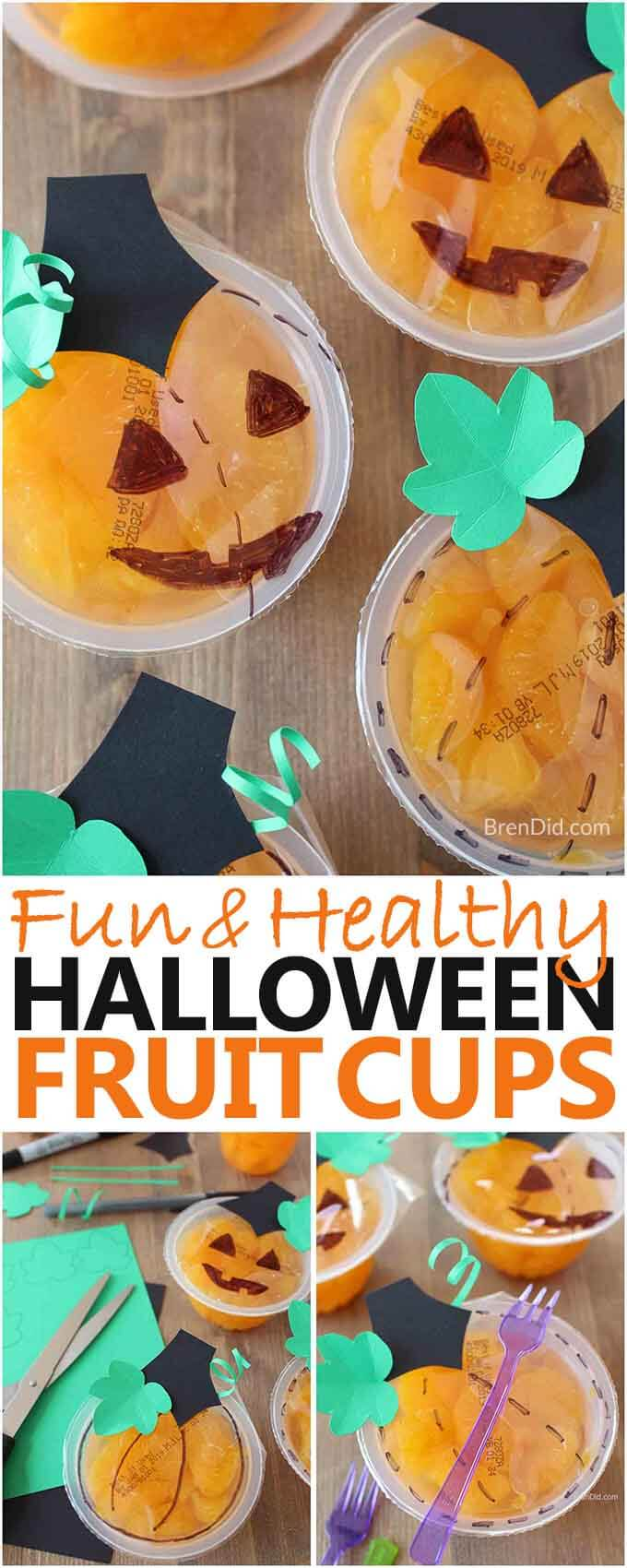 Halloween fruit cups pumpkins collage