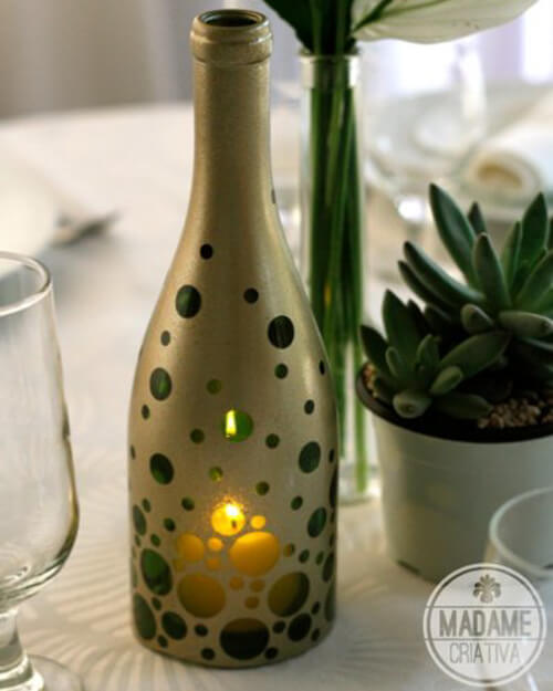 diy lanterns with wine bottles