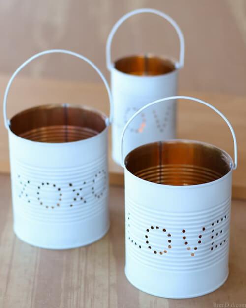 diy lanterns with tin cans