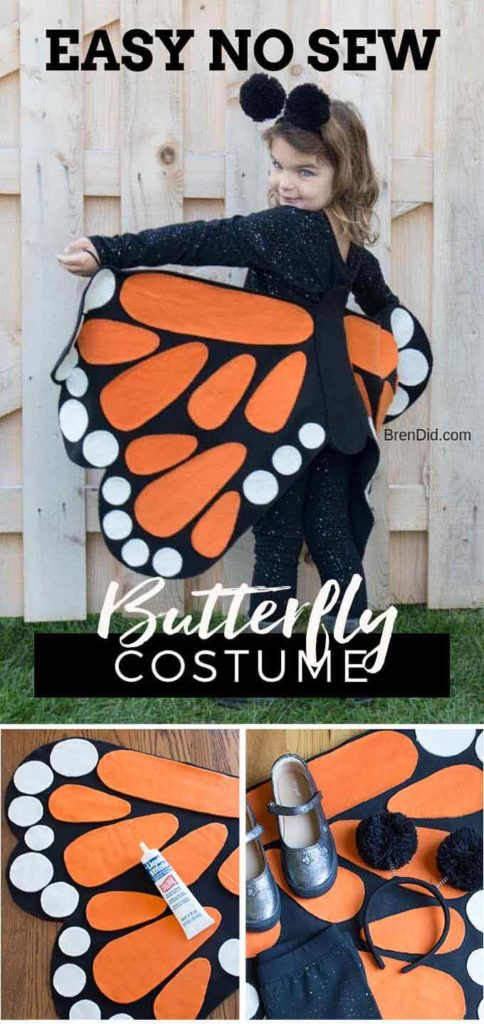 no sew butterfly costume collage rectangle