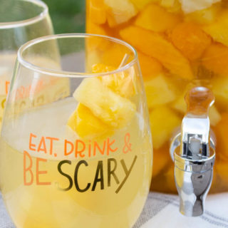 Eat Drink and Be Scary Halloween wine glass
