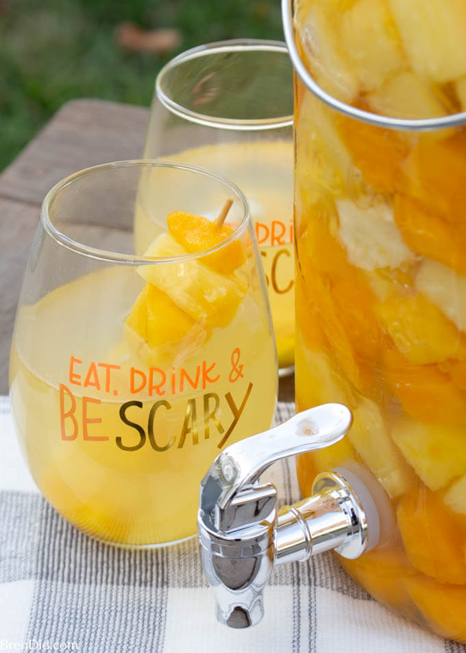 Halloween sangria recipe in a glass