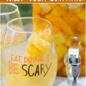 halloween sangria recipe in a decorative glass