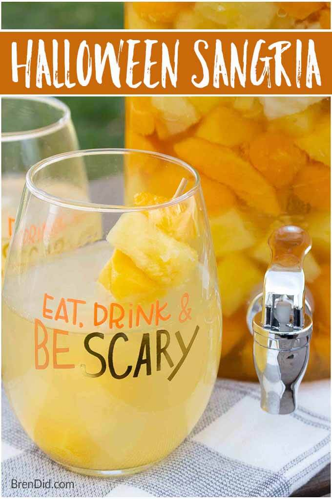 halloween sangria recipe in a decorative glass