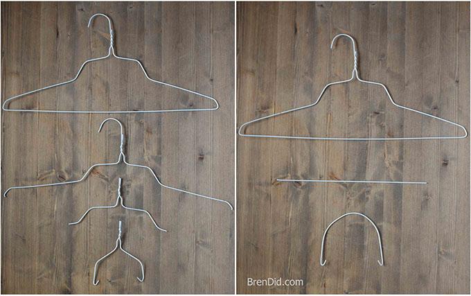 WIre hangers bent into lantern handles