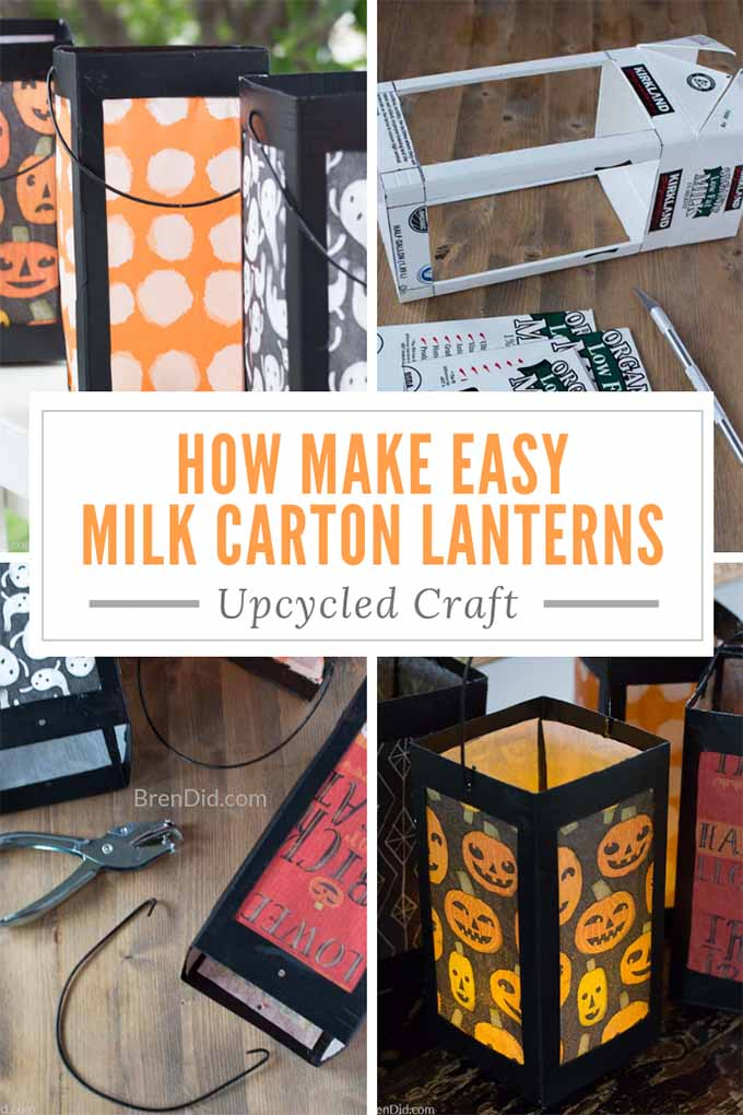 Learn how to make a simple paper lanterns from milk cartons with this simple tutorial. Use simple crafts supplies (milk carton, tissue paper, glue, and scissors) to make these Japanese inspired Halloween paper lanterns.  #paperlanterns #paperlantern #milkcarton #milkcartoncraft #japaneselantern #lantern #halloweenlantern #halloween #halloweencraft #upcycled #recycled