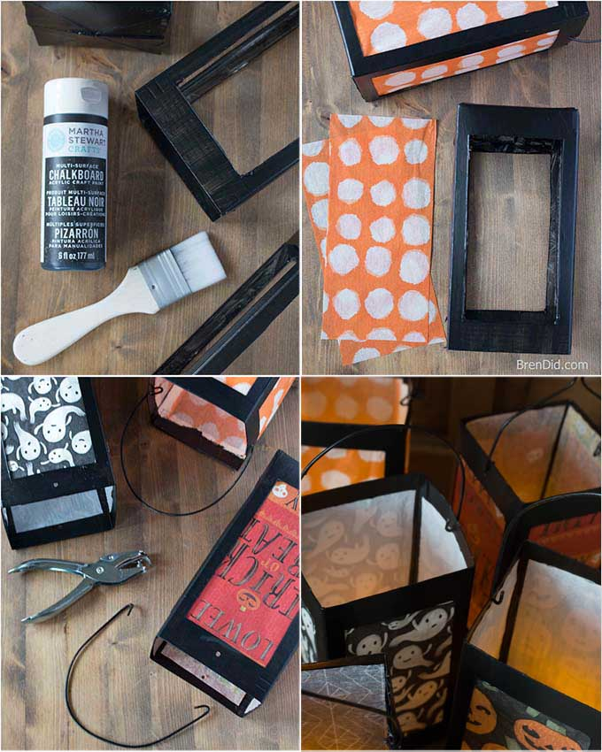 how paint and glue milk cartons into paper lanterns