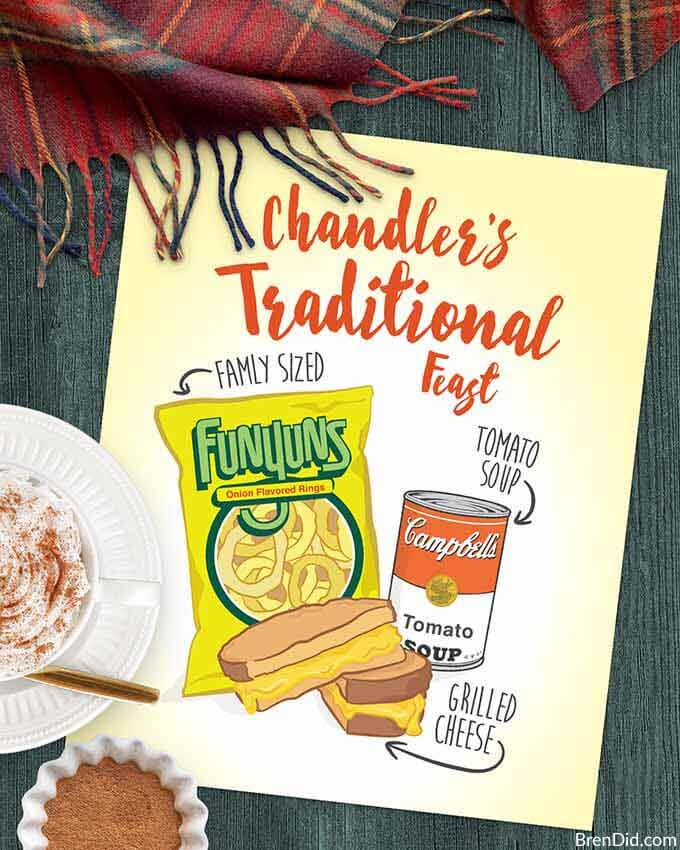 Chandler's Traditional Feast of Funyuns Tomato Soup and Grilled Cheese