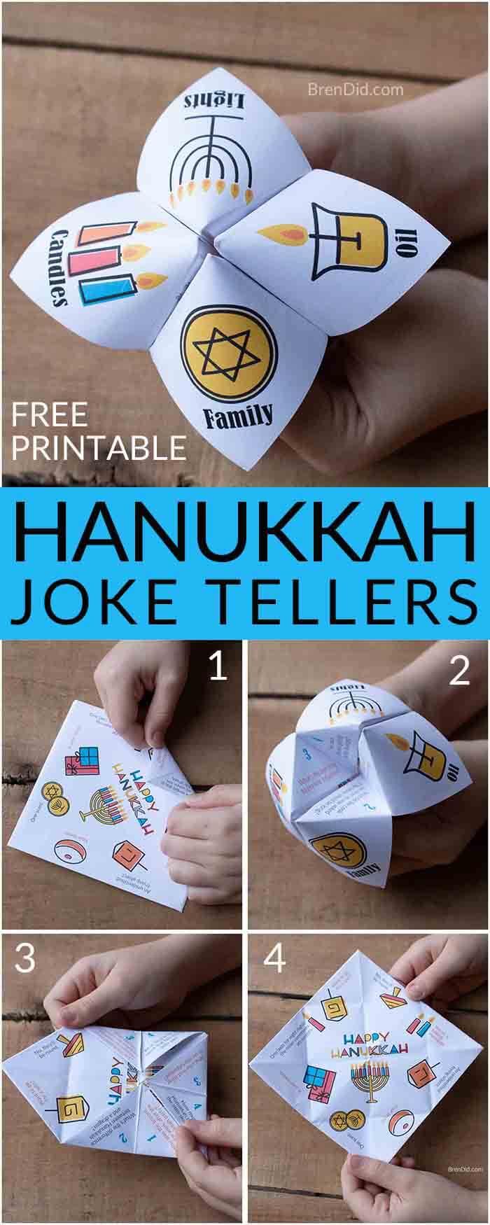 Free printable Hanukkah joke tellers for kids make simple Hanukkah gifts or easy Hanukkah crafts, Hanukkah for kids, Hanukkah crafts for kids, Hanukkah jokes #hanukkahgifts #hanukkahcrafts #Hanukkah #Brendid