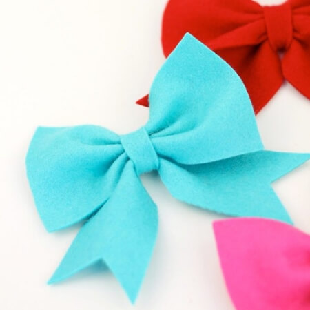 basic felt bow in three colors