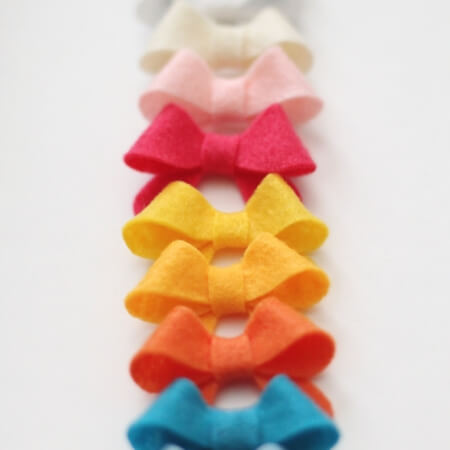 multicolored mini felt bows