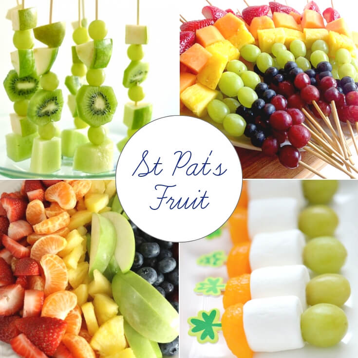 Fruit St Patrick's Day treats collage