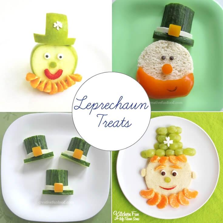 Leprechaun themed St Patrick's Day treats collage