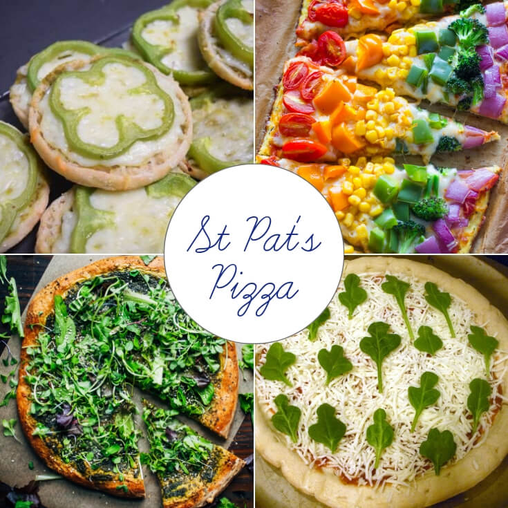 Pizza for St Patrick's Day treats collage