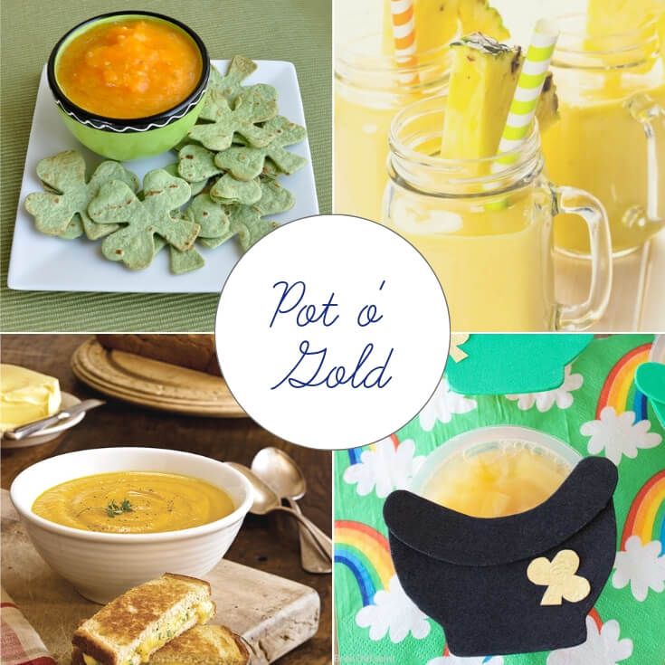 Pot of Gold themed St Patrick's Day treats collage