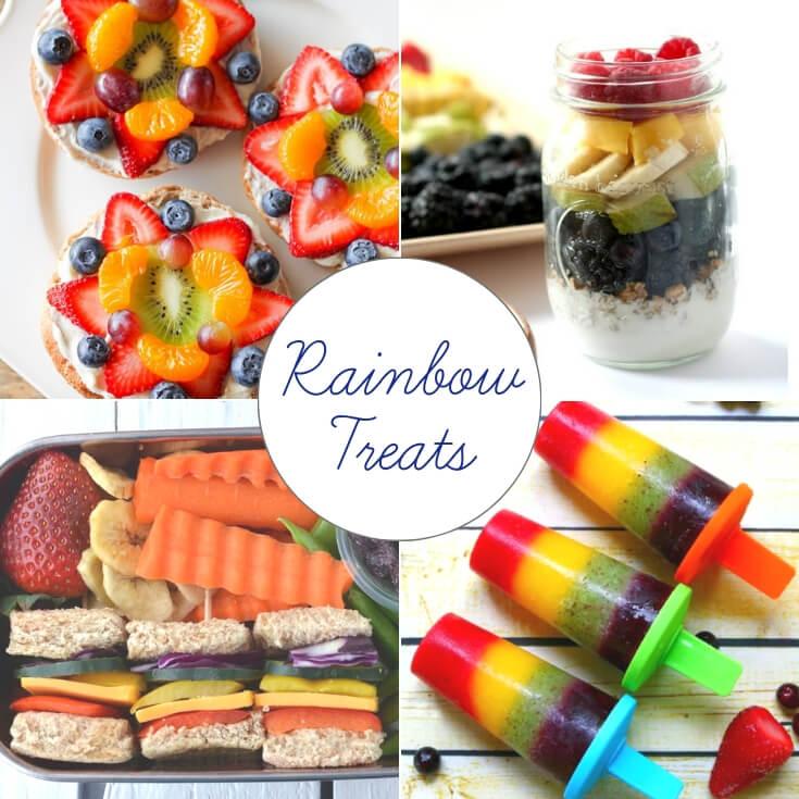 Rainbow themed St Patrick's Day treats collage