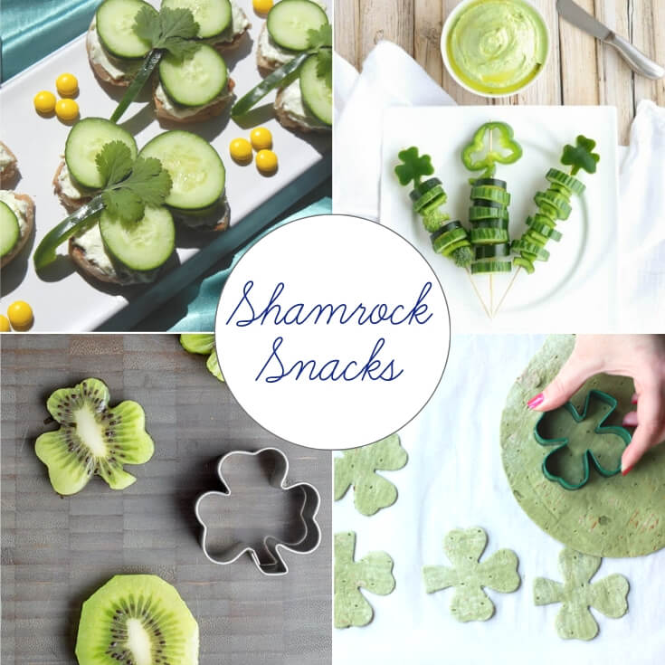 Shamrock themed St Patrick's Day treats collage